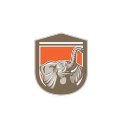 Elephant head looking up shield retro vector
