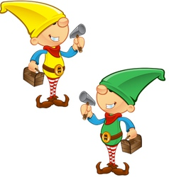 Elf Mascot Hammer And Toolbox vector image
