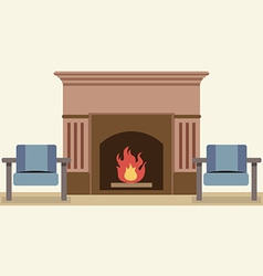 Empty chairs and fireplace in living room interior vector