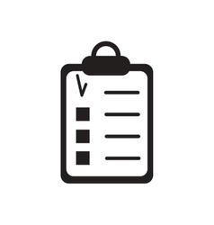Flat icon in black and white questionnaire vector