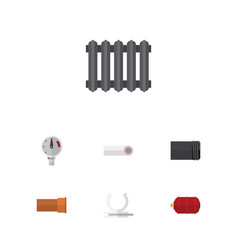 Flat icon plumbing set of container conduit vector