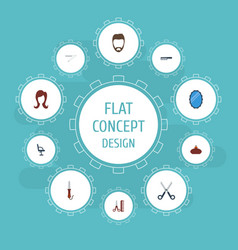 Flat icons looking-glass elbow chair hairdresser vector