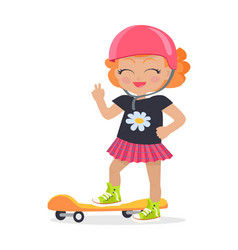 girl in pink helmet and skirt orange skateboard vector image