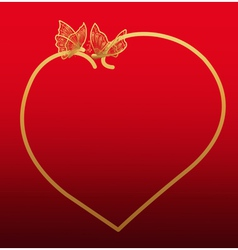 Golden heart shaped frame with butterflies vector image