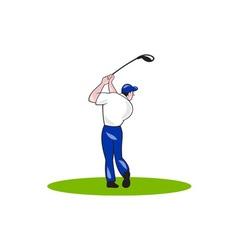 Golfer swinging club circle cartoon vector