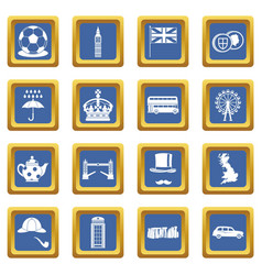 Great britain icons set blue vector