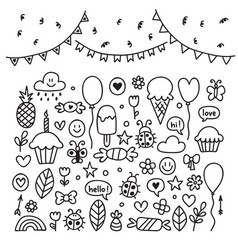 hand drawn design elements party set of vector image vector image