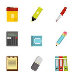 Office tools icon set flat style vector