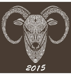 Patterned rams head Symbol of the new year vector image