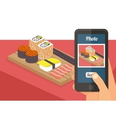 People taking photo of their food vector image