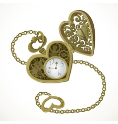 Pocket watch in the form of heart vector image vector image
