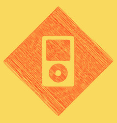 Portable music device red scribble icon vector