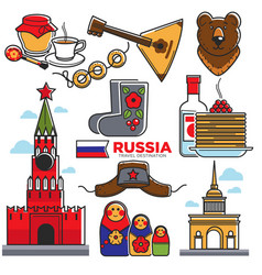 Russia traditional things colorful poster vector