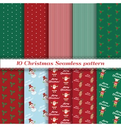 Set of Christmas seamless pattern vector image vector image