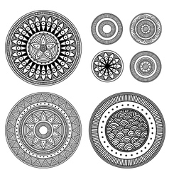 Set of design elements - patterned circles vector image