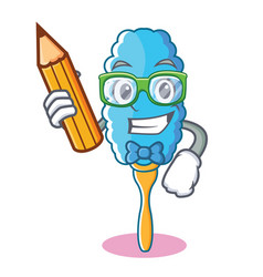 Student feather duster character cartoon vector