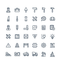 thin line icons set with construction vector image vector image