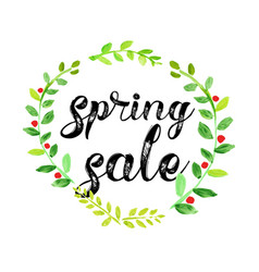 Watercolor spring sale poster vector