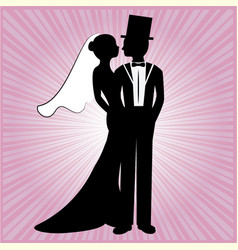 wedding silhouette 7 vector image