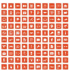 100 audio icons set grunge orange vector