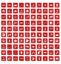 100 team icons set grunge red vector