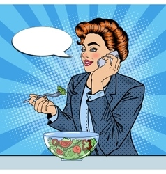 Pop art business woman talking on the phone vector