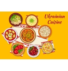 Ukrainian cuisine national dinner dishes sign vector