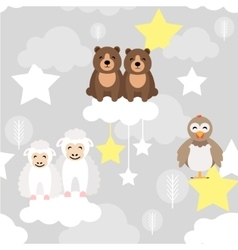 Cute animal kid seamless pattern bear vector