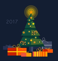 Christmas tree with gifts. vector