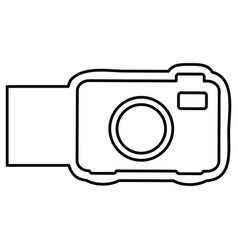 Monochrome contour with analog camera and banner vector
