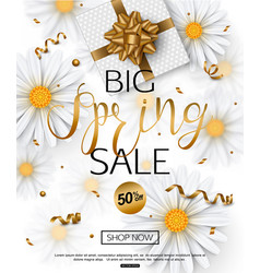 Spring sale banner with chamomile flower vector