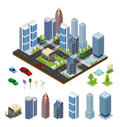 City landscape and part set isometric view vector