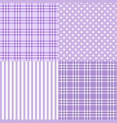 set of 4 purple patterns striped plaid vector image