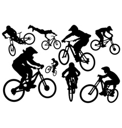 Cyclist silhouettes vector