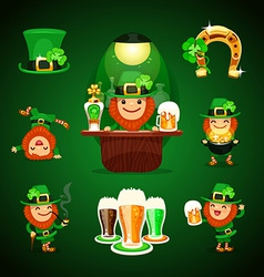 St patricks days set with horseshoe vector