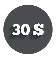 30 dollars sign icon usd currency symbol vector