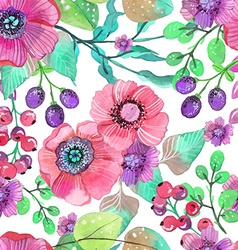 Seamless natural background with pink flowers and vector image