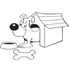Cartoon dog in a doghouse vector