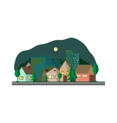 Flat design urban landscape night vector