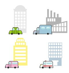 Transport and public buildings set cartoon style vector