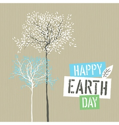 Happy earth day logotype on recycled paper vector