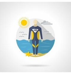 Diving wetsuit color detailed icon vector