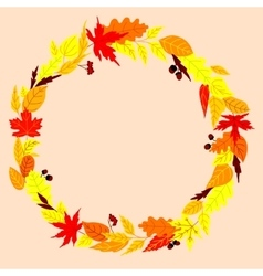 Autumn wreath with leaves acorns and rowanberry vector