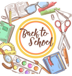 Back to school hand drawn background educational vector