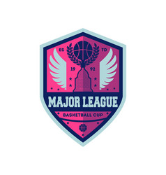 basketball major league vintage label vector image