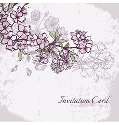 Blossom cherry or sakura wedding invitation card vector image