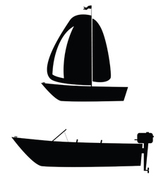 Boat two black silhouette vector