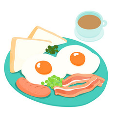 Breakfast and hot coffee vector