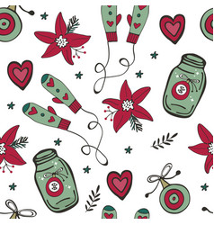 christmas pattern with mittens christmas baubles vector image vector image