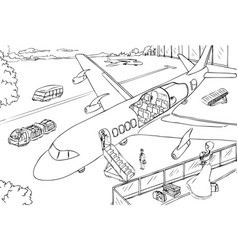 Cross-section of plane and airport vector